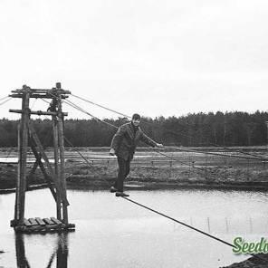 Henk Dekker op de kabelbaan