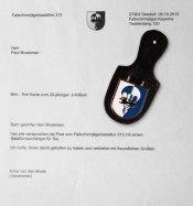 Bedankbrief met bataljonshanger uit Seedorf